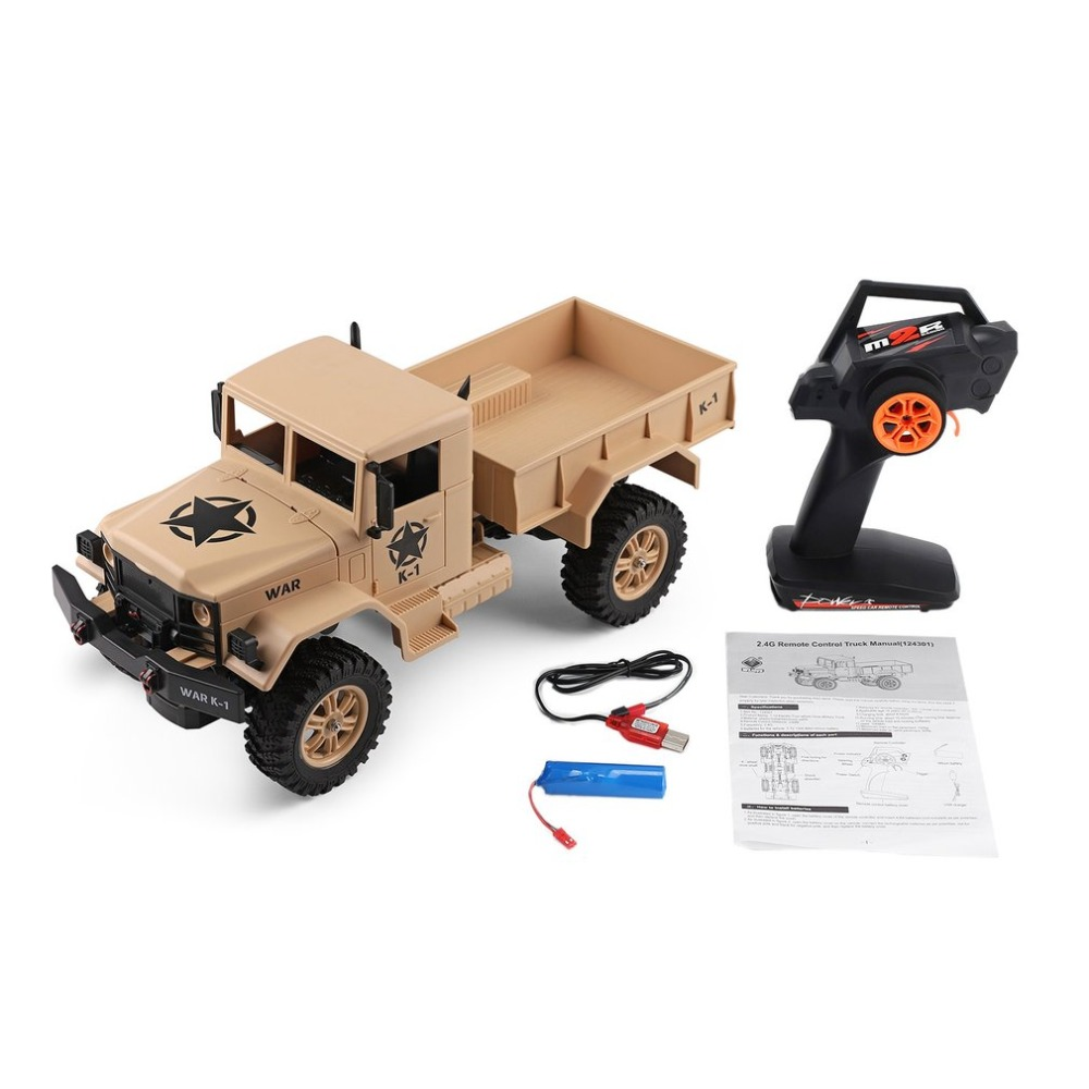 WLtoys 124301 2.4Ghz 1/12 4WD Off-road RC Military Truck Vehicle RC Car Remote Control for Kids Children Toy Gift Present