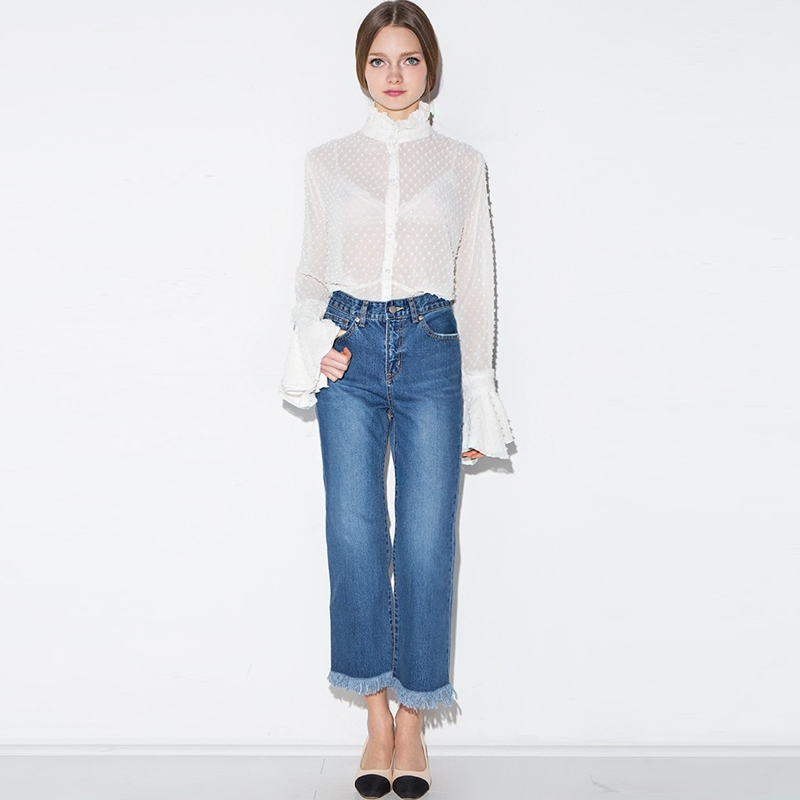 1f55778a1a HDY White Chiffon Blouse Sheer Summer Women Sexy Lace Long Sleeve Chiffon Blouses  Shirts White See Through Lady Shirt Tops Tee -in Blouses   Shirts from ...