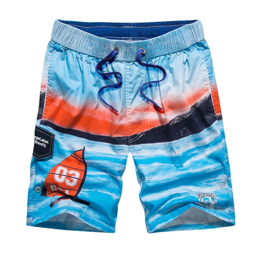 CHAMSGEND   Shorts   Navy Hawaiian Print Beach   Shorts   Large Size Men Elastic Waist Trunks   Board   Pants Summer Quick Dry Shor 21JAN15
