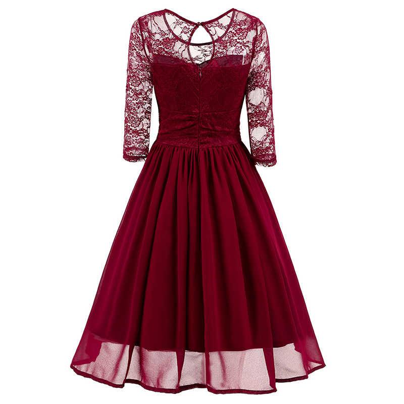 43342488f03 ... Sexy Women Midi Dress Sheer Mesh Lace Splice 3 4 Sleeve Slim Elegant Ladies  Dresses ...