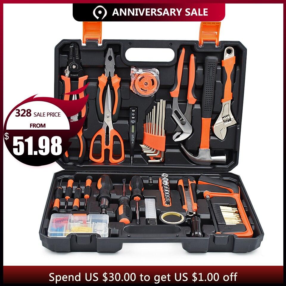 GOXAWEE Accueil De Réparation ensemble d'outils Tournevis Bits Set Pinces Sockets Clé Clé Scie Marteau Ménage kit d'outils outils à main Boîte