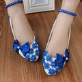 Blue Bow in Low-Heeled Shoes Bridesmaid Large Beads Anklets Wedding Shoes Bridesmaid Shoes Female Shoes 3cm/4.5cm/8cm Heel