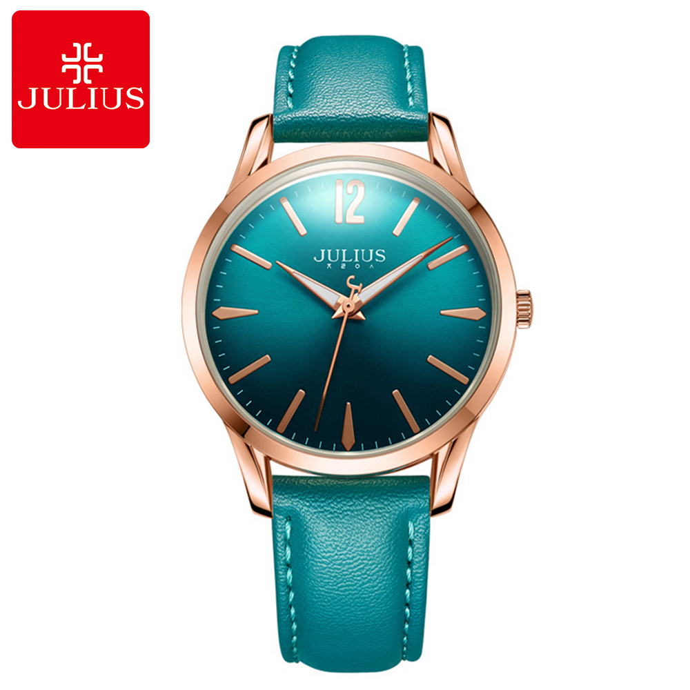 Genuine Women's Fashion Simple Leather Quartz Round Colorful Watch Women Unique Winding Hand Wristwatch Julius Clock Best Gift fashion simple nature hand made bamboo design men women quartz wristwatch number dial pin buckle cost effective clock best gift