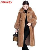 Большие размеры зимние женские шубы новый мех меховой воротник овечья шерсть пальто Женская средней длины теплая Повседневная куртка из ис