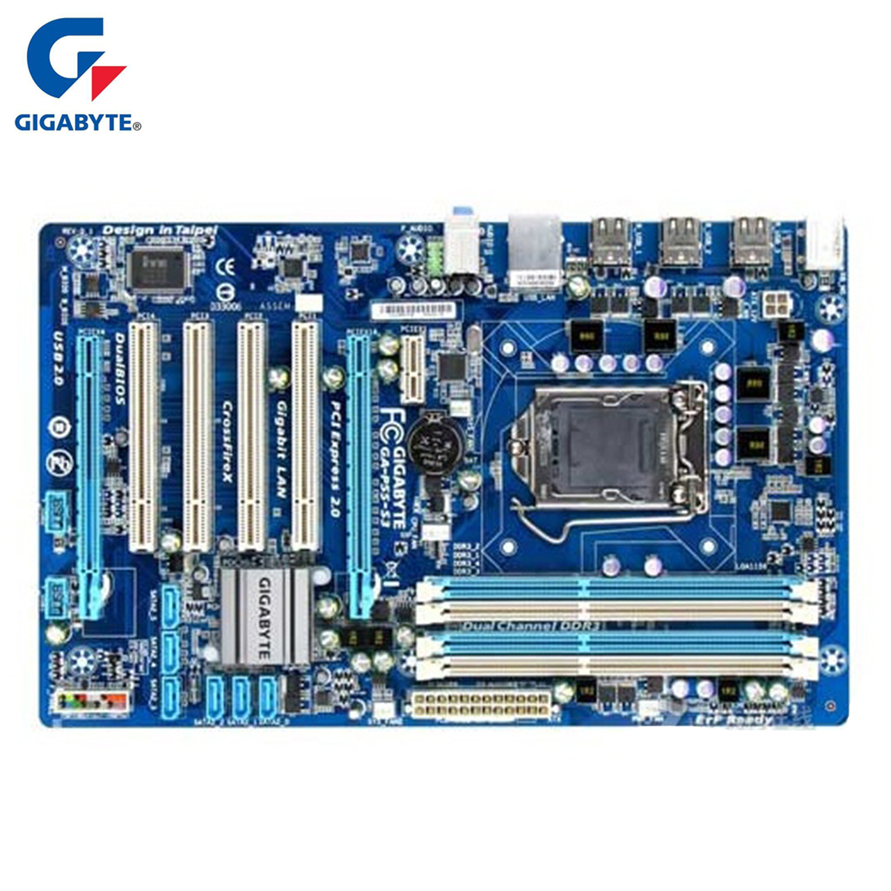 Gigabyte GA-P55-S3 100% Original Motherboard LGA 1156 DDR3 16G H55 P55 S3 P55-S3 Desktop Mainboard Systemboard Used Mother board