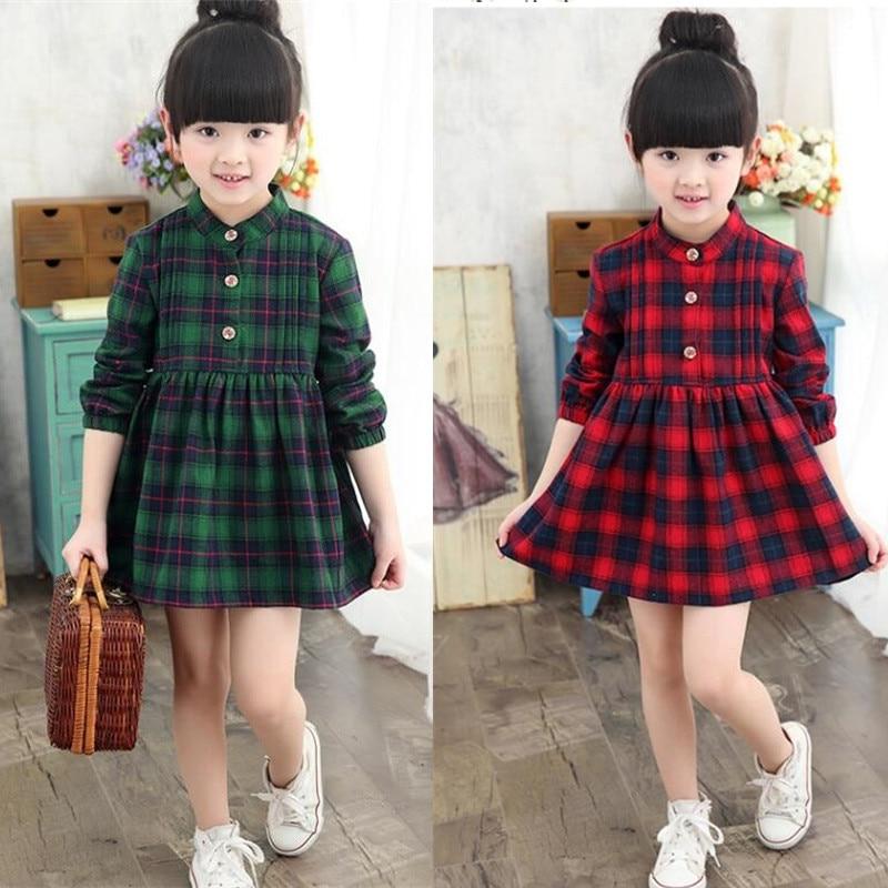Jaunas modes meitenes kleitas sarkanā pledu kleita meiteņu skolai - Bērnu apģērbi