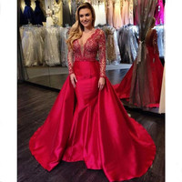 New Arrival Red Lace Long Sleeve Mermaid Evening Party Dresses With Detachable Train Vintage Appliques Long Prom Gowns Custom
