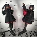 Vampire Cat & Vampire Bunny Women's Winter Black Cape & Long Sleeve Wool Blend Single Breast Coat Outwear Gothic Lolita Punk