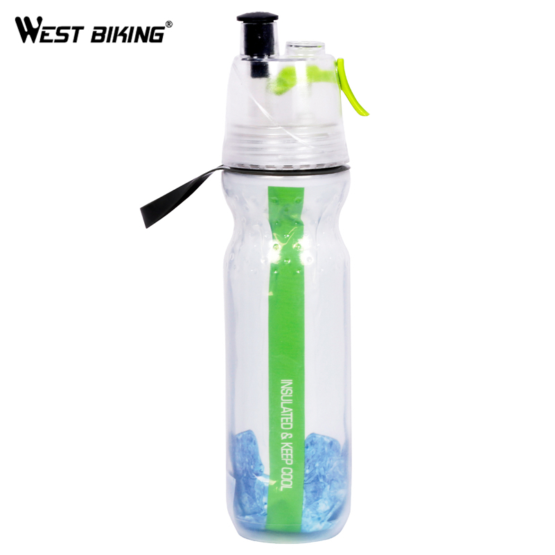 WEST BIKING Cycling Water Bottle Spray Riding PE Double Wall Keep Cool MTB Bicycle Plastic Sports Mountain Bike Water Bottle