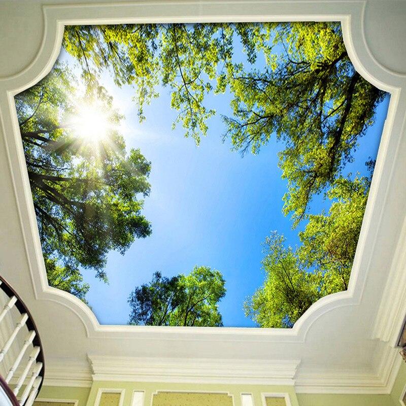 Modern 3d Stereo Sunshine Green Tree Photo Ceiling Mural