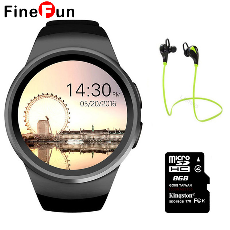 FineFun KW18 Smart Watch Bluetooth Heart Rate Monitor Intelligent smartWatch Support SIM TF Card for Sports Headphones #A1613 fashion heart rate monitor smart watch sim tf smartwatch android 2 5d ogs touch screen smart wristwatch bluetooth facebook buit