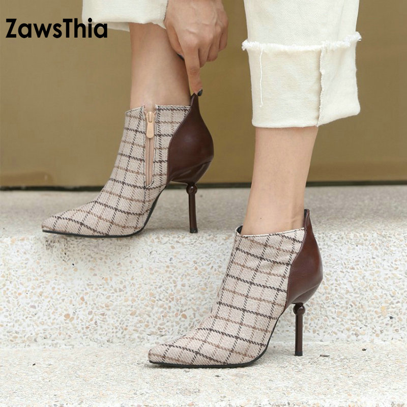 ZawsThia 2019 Winter Tweed Plaid Checked High Heels Elegant Woman Pumps Fashion Ankle Boots For Women Plus Size 33-48 Lady Boots