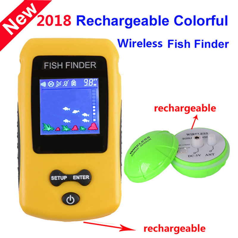 Wireless Fish Finder Rechargeable Sonar Fishfinder Transducer Depth Range Ocean Lake Sea Smart Portable Finshing Tackle