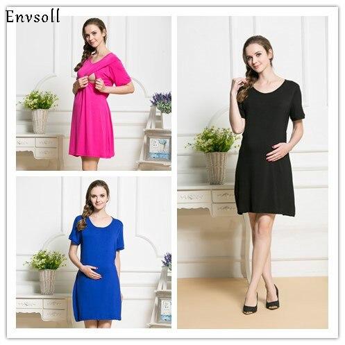 Envsoll 2018 New Nursing Clothes New Korean Fashion Modal Sleep Dress Pregnant Women Feeding Clothing Shirt Breastfeeding Dress