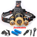 3 LED Headlight 8000 Lumens Cree XM-L T6 Zoomable High Power LED Headlamp +2pcs 18650 6800mah Battery Charger+Car Charger