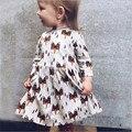 Meninas do bebê vestir fox head impressão longo-sleeved vestidos para meninas cotton sweet crianças primavera menina roupas de verão tamanho 12 m-5 t