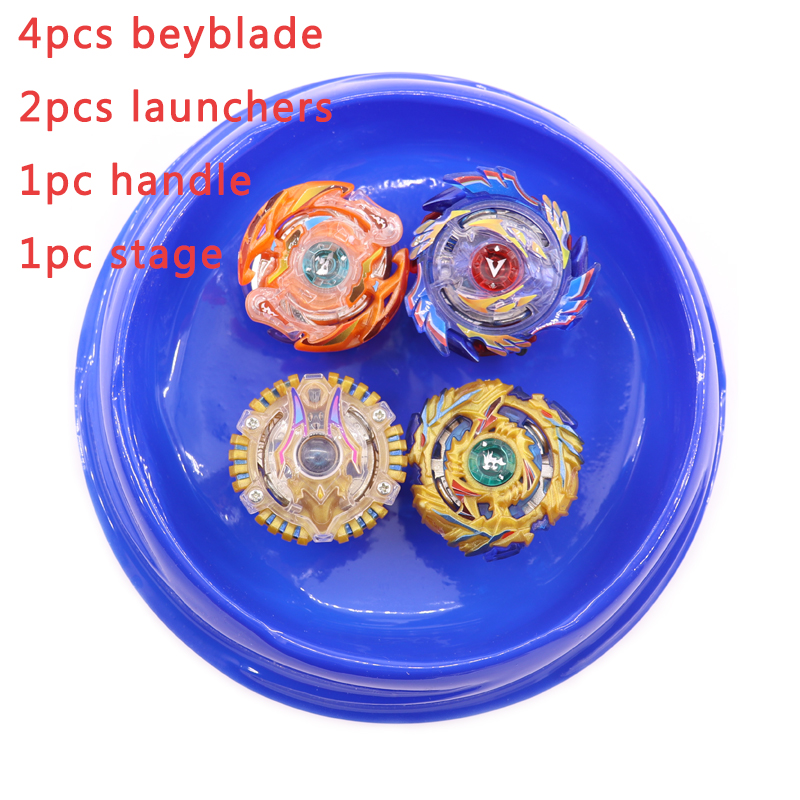 Beyblade Set 4 Bayblade+2 Launcher+1 Handle +1 Stage Metal Fusion 4D Rapidity Master Fight Rare Spinning Top Toys For Kids