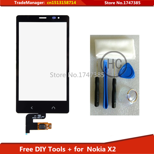 Free DIY Tools+100% Original replacement touch screen For Nokia X2 touch screen X2DS 1013 digitizer screen glass with flex cable