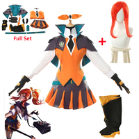 Game LOL Lux Cosplay Costumes Battle Academia Lux Suit Costumes for Women Halloween Uniform Top Skirt Shoes Cover Full Set