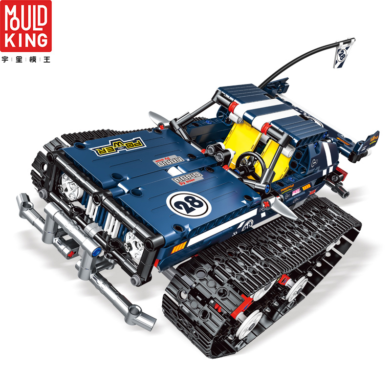 MOULD KING 13025 Crawler Racing Car Tracked Racer Remote Control RC Car Building Blocks City Technic