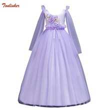 Autumn New Pink Blue Big Girls Kids Flower Princess Wedding Prom Party Dresses With Tulle Long Sleeve Tutu Dress Vestidos 5-16Yr cute baby girls pink princess dresses autumn summer party long sleeve 3d heart tulle tutu dress ball gown dresses 2 7y