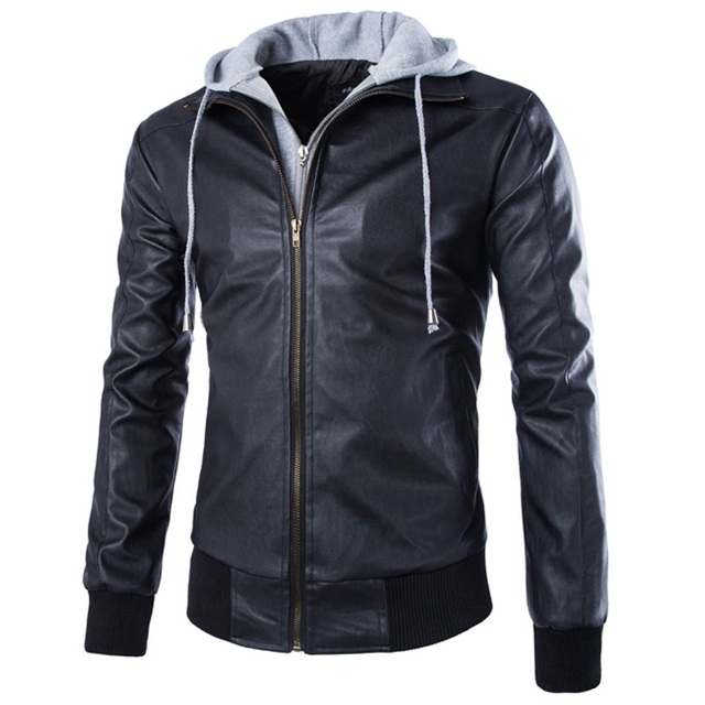 hot selling fashion casual mens hooded  Motorcycle leather coat Rib sleeve Turn-down Collar  mens leather jacket ZPY35