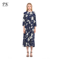 PK Printed Long Maxi Dress Women Wrist Sleeve Loose Summer Causal Vestido Femme O Neck Plated