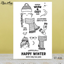 Happy Winter Transparent Silicone Stamps for DIY Scrapbooking/Photo Album Decorative Card Making Clear Supplies