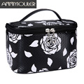 Annmouler Brand Women Makeup Bag Case Pu Leather Cosmetic Pouch Make Up Storage Rose Printing Organizer Zipper Travel Toiletry