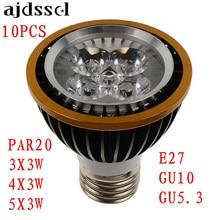 LED spot 10PCS spotlight PAR20 BulbsFactory Sale E27 GU10 GU5.3 3x3w 4x3w 5x3w Warm/ColdWhite Dimmable P20 Spotlights Lamps
