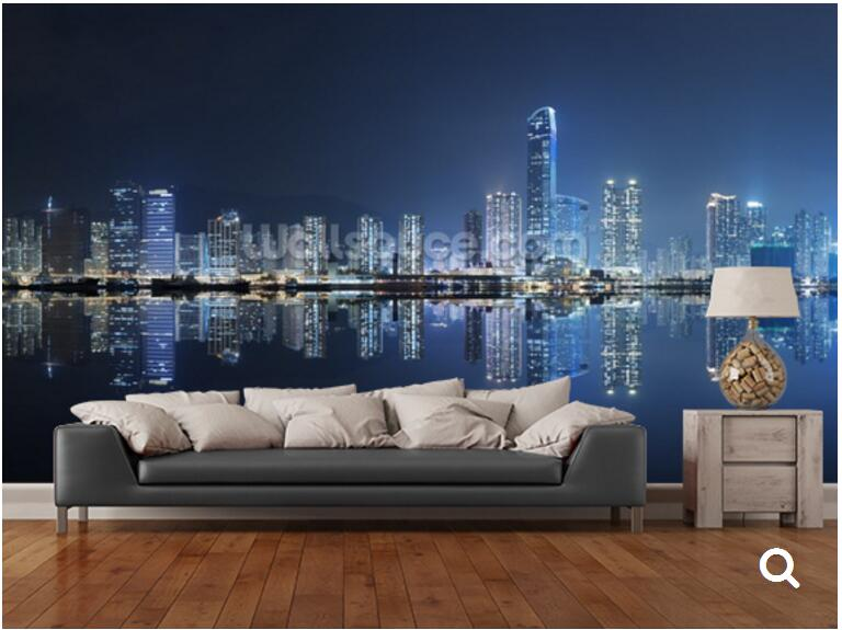 Hong Kong Woonkamer : Custom landschap behang hong kong city night d foto
