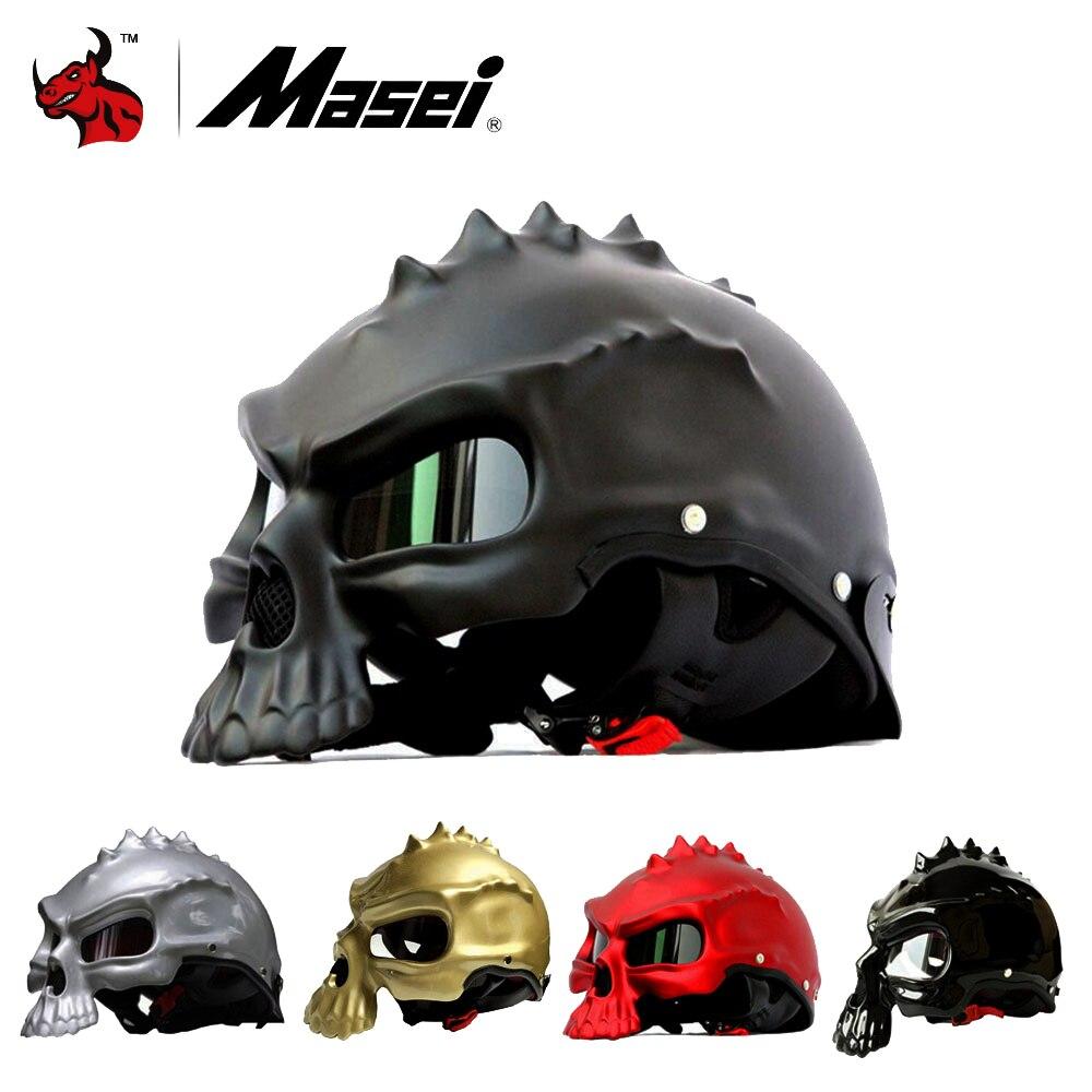 Masei Cranio Casco Novità Retro Casque Moto Mezzo del Fronte del Casco Moto Casco Aperto Casco Visiera 10 Colori