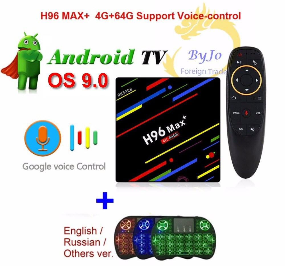 Date H96 Max + Android 9.0 WiFi 2.4G 5G Android TV boîtier Top 4G 64G commande vocale 4K boîtier décodeur H96 MAX Plus