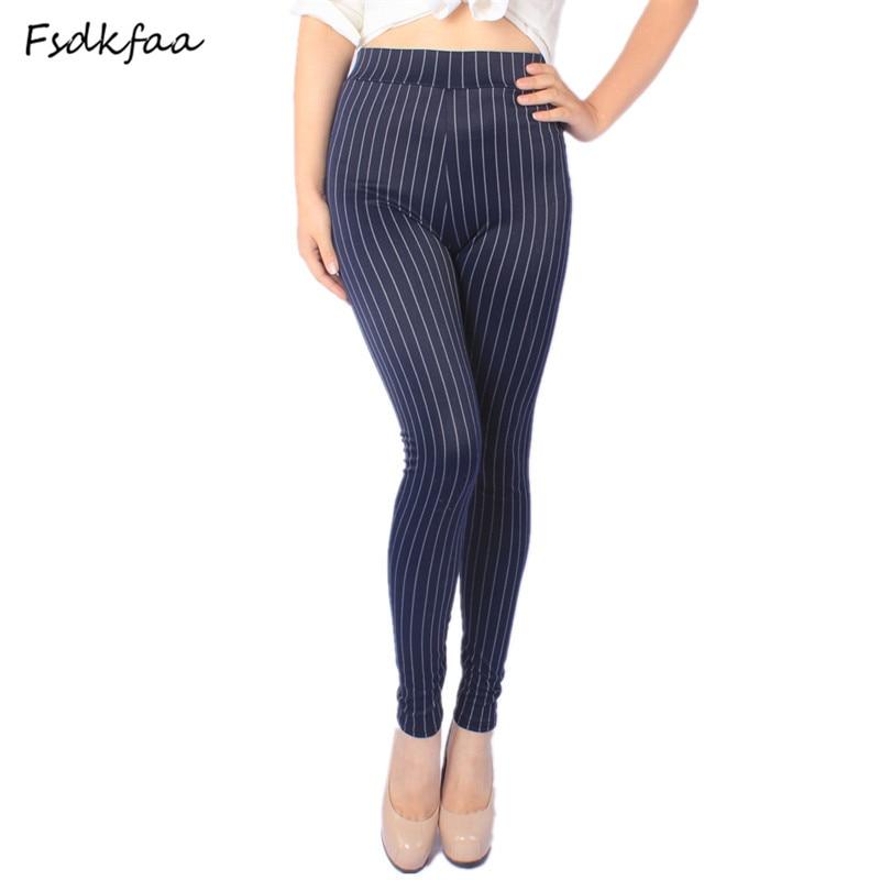 FSDKFAA 2018 XL- 5XL Fit 45-100 kg Women Plus Size Summer   Leggings   High Stretch Striped Faux Denim   Leggings   Slim Skinny Pants