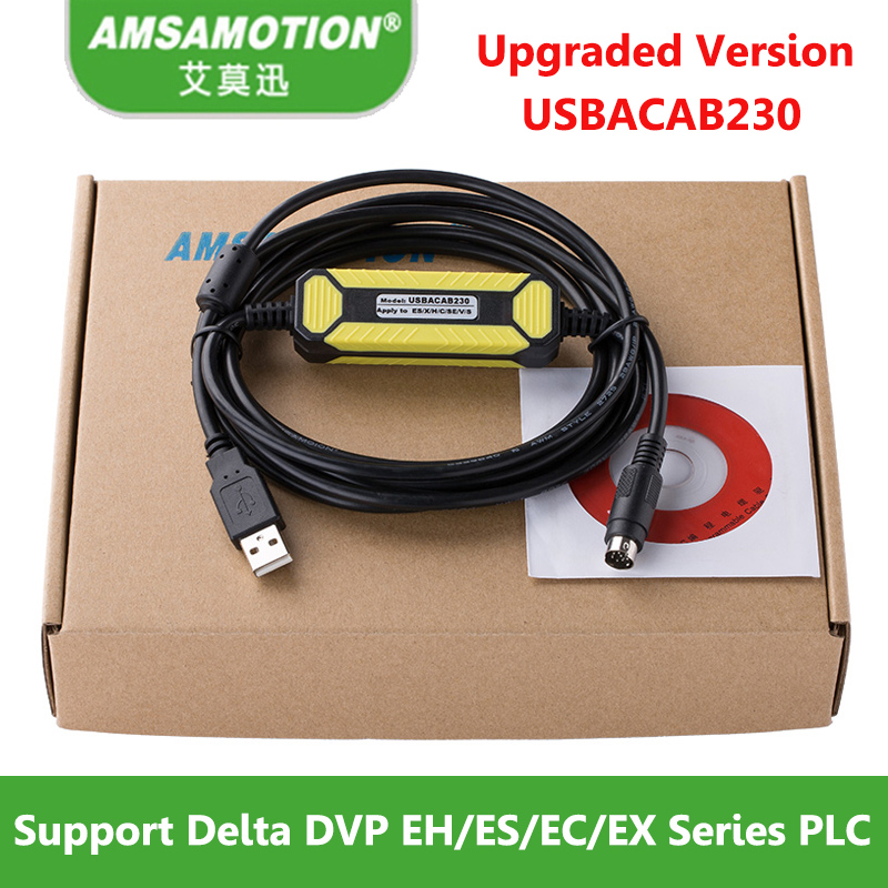 Upgraded Version Cable USB-DVP Suitable Delta DVP EH ES EC EX SS Series PLC Programming Cable USBACAB230 Download Cable