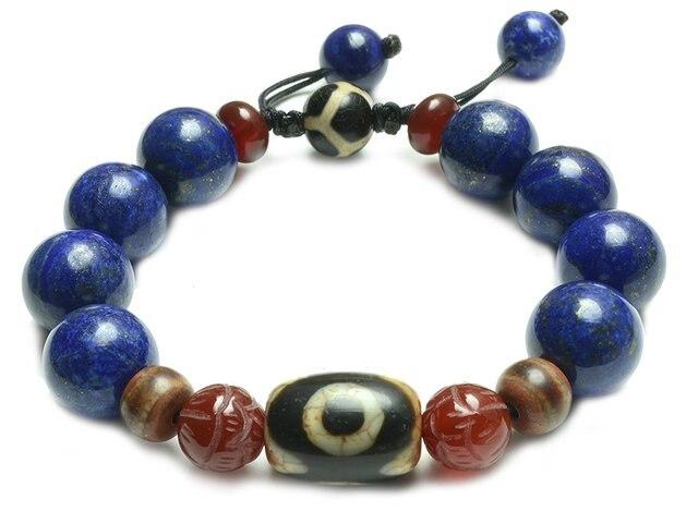 Auspicious Lapis Lazuli Tibetan 3 Eyes Dzi Bead Protective Amulet Bracelet - Fortune Feng Shui Jewelry