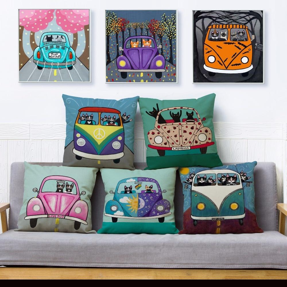 Ryan Conners Cute Cartoon Drive Car Cat Print Throw Pillow Cover 45*45 Cushion Cover Linen Pillow Case Home Decor Pillows Cases