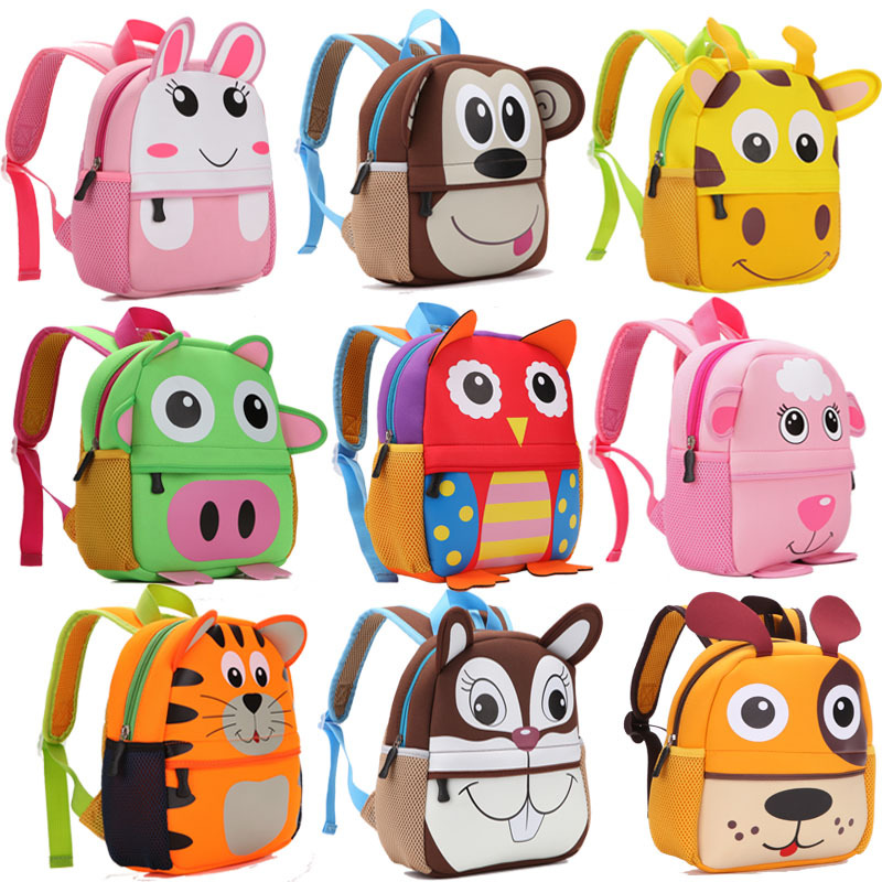 2018 New 3D Animal Children Backpacks Brand Design Girl Boys Backpack Toddler Kids Neoprene School Bags Kindergarten Cartoon Bag nohoo toddler kids backpack 3d rocket space cartoon pre school bags children school backpacks kindergarten kids bags mochila