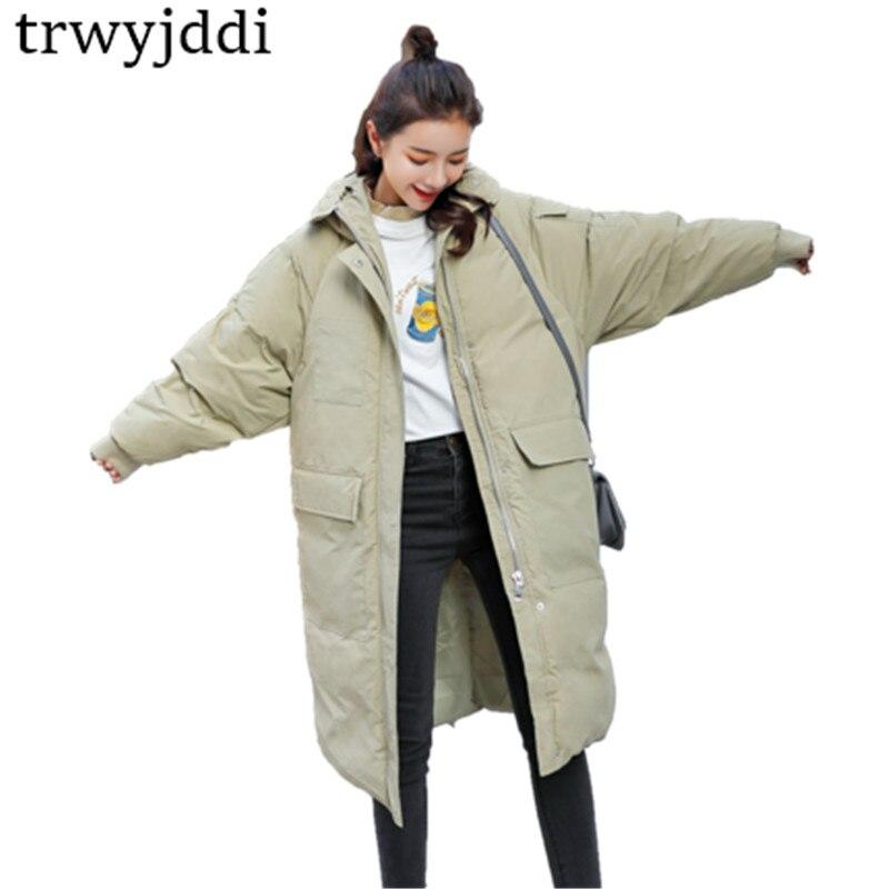 2018 Winter Coat Women Thicken Warm Long Winter Jacket Female Stand Collar Outerwear Pocket Oversized   Parka   Overcoats N21