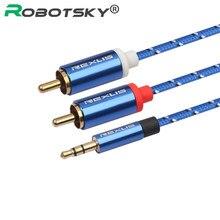 Rca cabo 3.5mm jack macho para 2 rca macho fone de ouvido aux áudio divisor cabo para amplificador telefone edifer casa teatro fone de ouvido