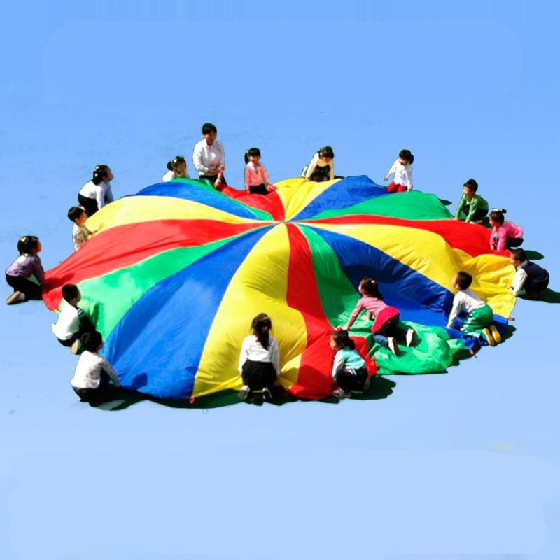 Dia 2/3/4/5/6M Children Games Rainbow Umbrella Educational Outdoor Sports Toys Fun Cloth Parachute Ballute Kindergarten Kids