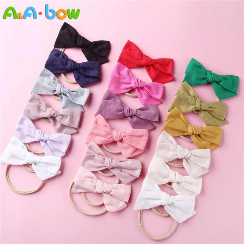 1-18pcs Handmade Fabric Bow Headbands For Baby Girls Solid Cute Elastic Nylon Bow Headband School Girls Hair Accessories
