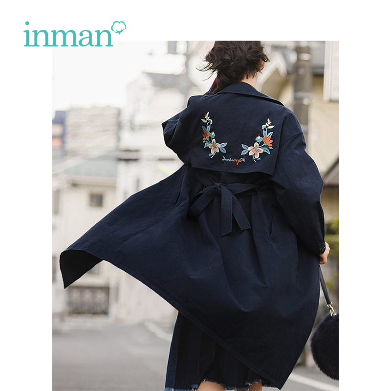 INMAN 2018 Autumn Women New Female Lapel Embroidery Long Size Off The Shoulder Fashion Ladies Long   Trench   Coat