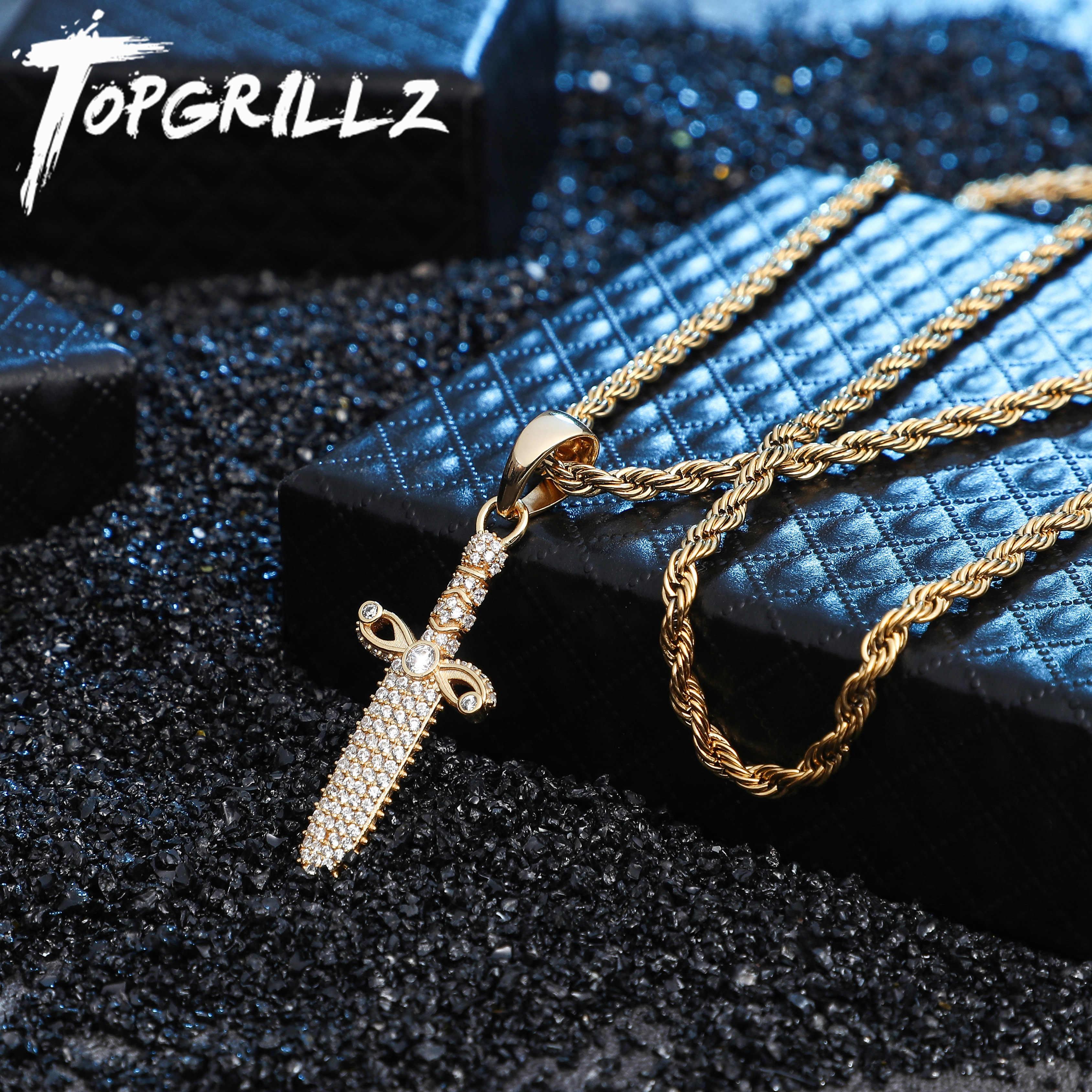TOPGRILLZ アイスジルコンクロスペンダントゴールドシルバー 100% 925 スターリングシルバー素材 CZ ペンダントネックレスチェーンヒップホップジュエリー