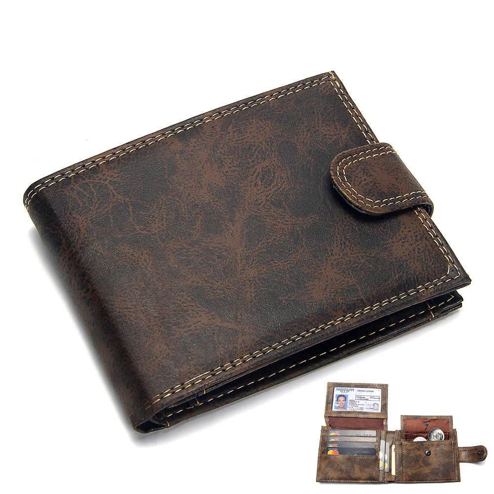 יוקרה מעצב Mens ארנק עור PU Bifold ארנקים קצרים גברים וו בציר זכר ארנק מטבע פאוץ רב תפקודי כרטיסים ארנק