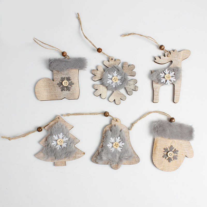 2019 Navidad  Wood Fleece Ornaments Rustic Christmas Tree Decoration Adornment Christmas Tree Decoration Home Christmas Decor