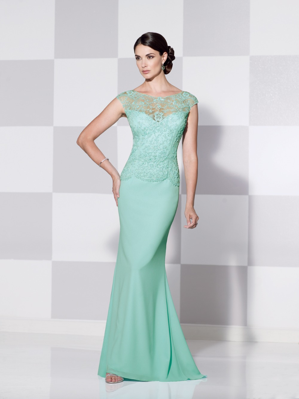 L139 Mint Blue Mermaid Round Collar Long Women Wedding Party Dresses ...