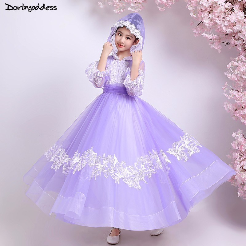 Purple Lace Puffy   Flower     Girl     Dresses   for Weddings Ball Gown Elegant First Holy Communion   Dresses   for   Girls   Kids Pageant Gowns