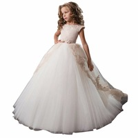 ZYLLGF Bridal Best Selling Flower Girl Dress Designers Ball Gowns Dress For Children Flower Girl Gown Tulle With Applique FP25