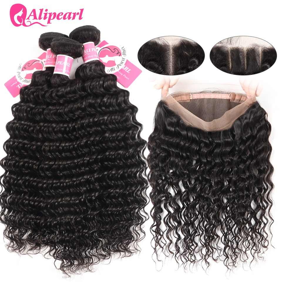 AliPearl Deep Wave Bundles With 360 Frontal Closure Brazilian Human Hair 3 Bundles With 360 Lace Frontal Remy Hair Extension